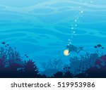 silhouette of coral reef with...
