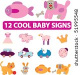 12 cool baby signs. vector | Shutterstock .eps vector #51995548