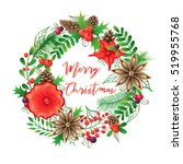 christmas wreath and bouquets.... | Shutterstock . vector #519955768