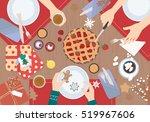 christmas dinner on wood table... | Shutterstock .eps vector #519967606