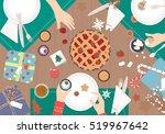christmas dinner on wood table... | Shutterstock .eps vector #519967642