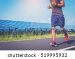 handsome man running on road... | Shutterstock . vector #519995932
