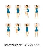 different sleeping poses set.... | Shutterstock .eps vector #519997708