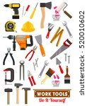 work tools icons with hammer... | Shutterstock .eps vector #520010602