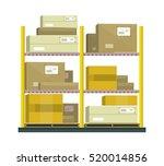 shelf with cartoon box.... | Shutterstock .eps vector #520014856