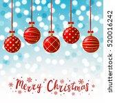 red christmas balls on shiny... | Shutterstock .eps vector #520016242