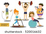 several people working out and... | Shutterstock . vector #520016632