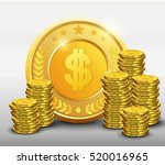 golden coins with dollar sign... | Shutterstock .eps vector #520016965