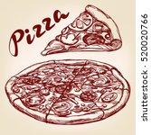 italian pizza set hand drawn...   Shutterstock .eps vector #520020766