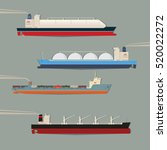 set of commercial cargo vessels ...