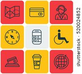 set of 9 travel icons. can be... | Shutterstock .eps vector #520024852