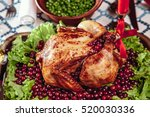 roasted chicken  table setting. ... | Shutterstock . vector #520030336