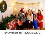 friends sing karaoke at... | Shutterstock . vector #520036372