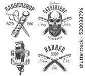 set of vintage barbershop... | Shutterstock . vector #520038796