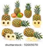 collection of ripe pineapples... | Shutterstock . vector #52005070