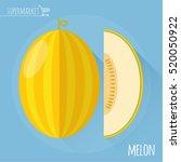 honey melon. long shadow flat... | Shutterstock .eps vector #520050922