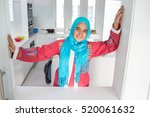 young muslim arabic woman in... | Shutterstock . vector #520061632