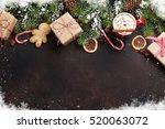 christmas background with fir... | Shutterstock . vector #520063072