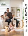 cheerful family at home  a... | Shutterstock . vector #520071622