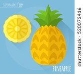 pineapple.  long shadow flat... | Shutterstock .eps vector #520073416