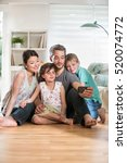 at home  cheerful family  dad ... | Shutterstock . vector #520074772