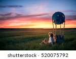 Small photo of Little boy with aerostat outdoors