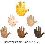 raised hand emoji of various... | Shutterstock .eps vector #520077178