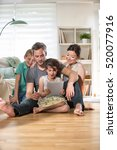 at home  cheerful family  dad ... | Shutterstock . vector #520077916