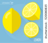 lemon.  long shadow flat design ... | Shutterstock .eps vector #520080835