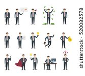 isolated businessman set. funny ... | Shutterstock .eps vector #520082578