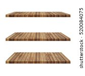 3 wood shelves table isolated... | Shutterstock . vector #520084075