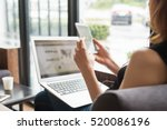 smart woman using smart phone... | Shutterstock . vector #520086196