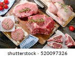 different types of fresh raw... | Shutterstock . vector #520097326