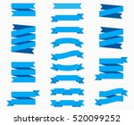 Flat vector ribbons banners flat isolated on white background, Illustration set of blue tape | Shutterstock vector #520099252