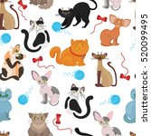 fur cats pattern vector... | Shutterstock .eps vector #520099495