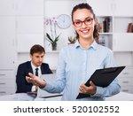 glad smiling efficient business ... | Shutterstock . vector #520102552