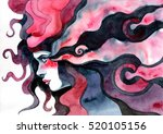 girl with long magical hair | Shutterstock . vector #520105156