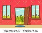 open door. valley landscape.... | Shutterstock .eps vector #520107646