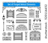 forged metal elements black... | Shutterstock . vector #520116652