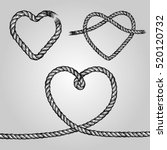 set of rope hearts. decorative... | Shutterstock .eps vector #520120732