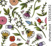 flowes color plants pattern | Shutterstock .eps vector #520131652