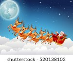 santa claus rides reindeer... | Shutterstock . vector #520138102