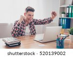 happy man completed task and... | Shutterstock . vector #520139002