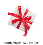red gift box with ribbon... | Shutterstock . vector #520141645