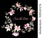 wreath of flowers in watercolor ... | Shutterstock .eps vector #520142176