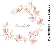 wreath of flowers in watercolor ... | Shutterstock .eps vector #520142188
