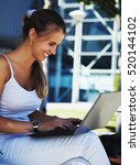 happy beautiful woman working... | Shutterstock . vector #520144102