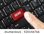 Small photo of demo word on red keyboard button