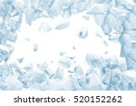 broken blue ice wall with hole... | Shutterstock . vector #520152262