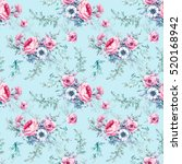 watercolor vintage floral... | Shutterstock . vector #520168942